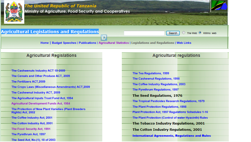 Interesting websites for agricultural research in Tanzania, Benin